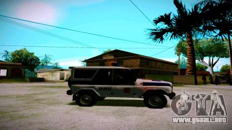 UAZ hunter Servicio PPP para GTA San Andreas vista hacia atrás