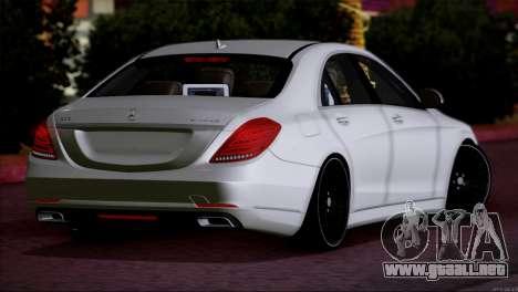 Mercedes Benz S63 W222 Artículos De Calidad para GTA San Andreas vista posterior izquierda