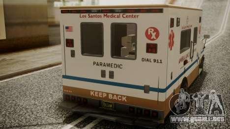 GTA 5 Brute Ambulance para GTA San Andreas vista hacia atrás