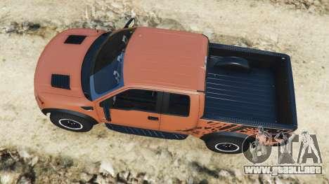 GTA 5 Ford F-150 SVT Raptor 2012 v2.0 vista trasera
