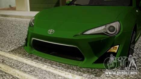 Toyota GT86 2012 para vista lateral GTA San Andreas