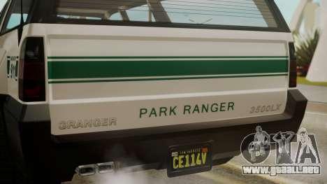 GTA 5 Declasse Granger Park Ranger para GTA San Andreas vista hacia atrás