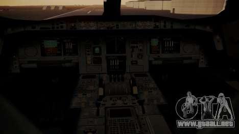Airbus 350-900XWB MSN2 Carbon Livery para GTA San Andreas vista hacia atrás