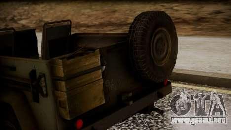 UAZ MGS5 TPP para GTA San Andreas vista hacia atrás