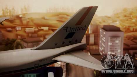 Boeing 747-100 United Airlines Friend Ship para GTA San Andreas vista posterior izquierda