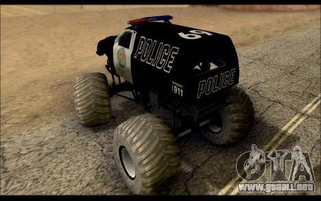 The Police Monster Trucks para GTA San Andreas vista posterior izquierda