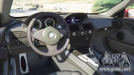 GTA 5 BMW M6 (E63) vista lateral derecha