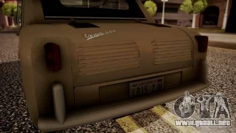 Vespa 400 1958 para GTA San Andreas vista hacia atrás