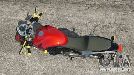 GTA 5 Honda CB 600F Hornet 2010 v0.5 vista trasera