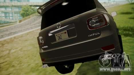 Nissan Patrol IMPUL 2014 para GTA San Andreas vista hacia atrás
