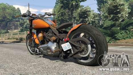 GTA 5 Harley-Davidson Fat Boy Lo Racing Bobber v1.2 vista lateral izquierda trasera