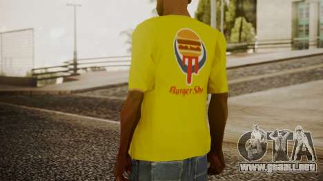 Burger Shot T-shirt Yellow para GTA San Andreas tercera pantalla