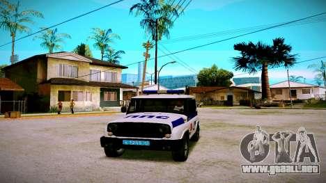 UAZ hunter Servicio PPP para GTA San Andreas vista posterior izquierda