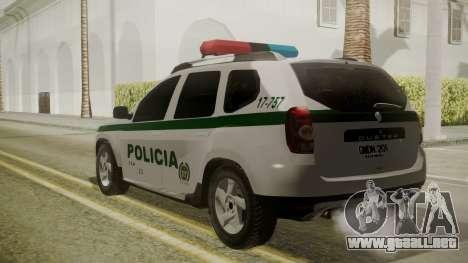 Renault Duster Patrulla Policia Colombiana para GTA San Andreas left