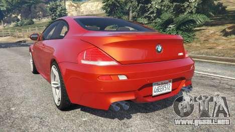 GTA 5 BMW M6 (E63) Tunable v1.0 vista lateral izquierda trasera