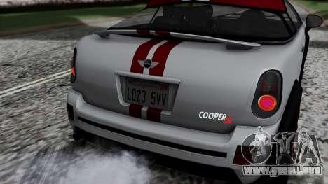 Mini Cooper S Weeny Issi para GTA San Andreas vista hacia atrás