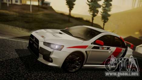 Mitsubishi Lancer Evolution X 2015 Final Edition para vista inferior GTA San Andreas