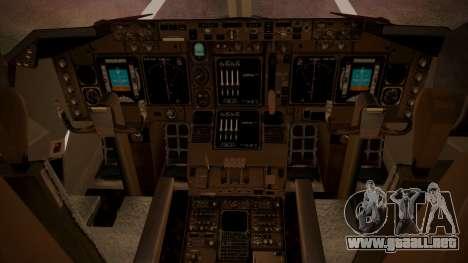 Boeing 747SP ER Airways para GTA San Andreas vista hacia atrás