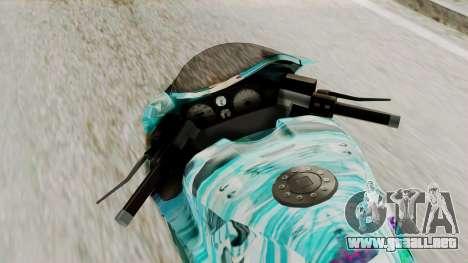 Bati Motorcycle Hatsune Miku Itasha para GTA San Andreas vista hacia atrás