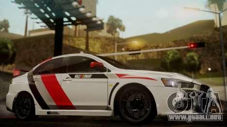 Mitsubishi Lancer Evolution X 2015 Final Edition para la visión correcta GTA San Andreas