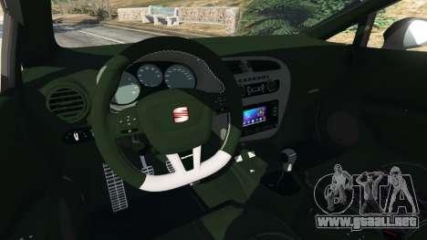 GTA 5 SEAT Leon II 2010 v1.1 vista lateral trasera derecha