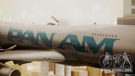Boeing 747-100 Pan Am Clipper Juan T. Trippe para GTA San Andreas vista hacia atrás