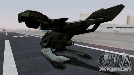 Hornet Halo 3 para GTA San Andreas vista posterior izquierda