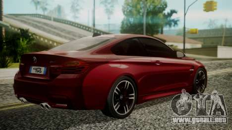 BMW M4 Coupe 2015 Walnut Wood para GTA San Andreas left