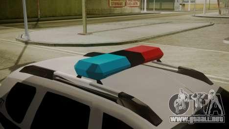 Renault Duster Patrulla Policia Colombiana para GTA San Andreas vista hacia atrás