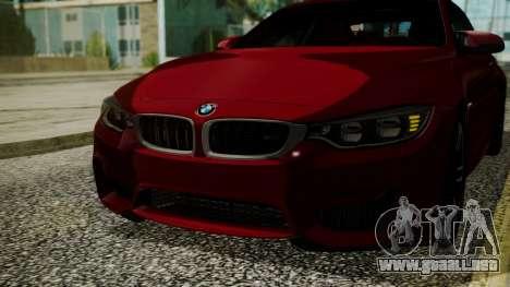 BMW M4 Coupe 2015 Walnut Wood para vista lateral GTA San Andreas