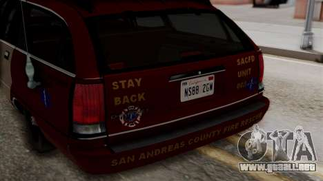 Chevy Caprice Station Wagon 1993-1996 SACFD para visión interna GTA San Andreas