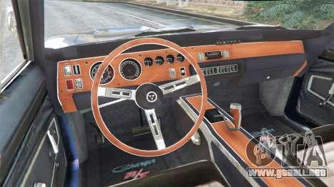 GTA 5 Dodge Charger RT 1970 v3.0 vista lateral trasera derecha