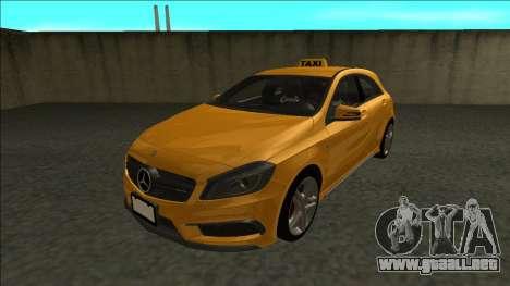 Mercedes-Benz A45 AMG Taxi 2012 para GTA San Andreas vista posterior izquierda