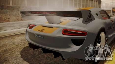 Porsche 918 RSR para GTA San Andreas vista hacia atrás