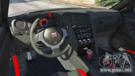 GTA 5 Nissan GT-R Nismo 2015 v1.1 vista lateral trasera derecha
