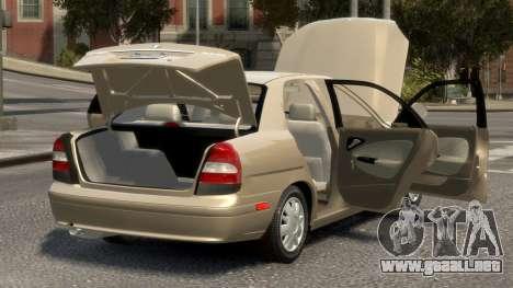 Daewoo Nubira II Sedan SX USA 2000 para GTA 4 vista superior