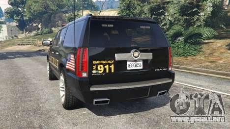 GTA 5 Cadillac Escalade ESV 2012 Police vista lateral izquierda trasera