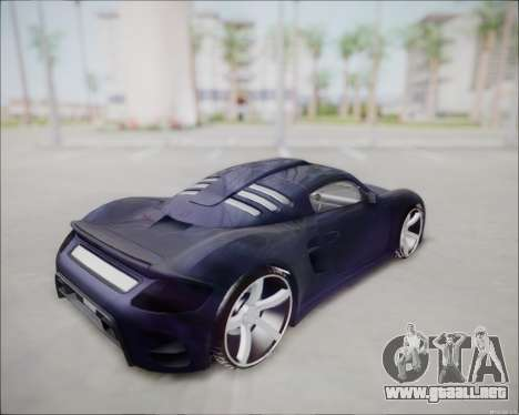 Ruf CTR 3 2015 para GTA San Andreas vista posterior izquierda