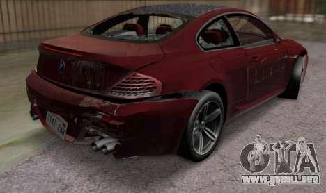 BMW M6 E63 para visión interna GTA San Andreas