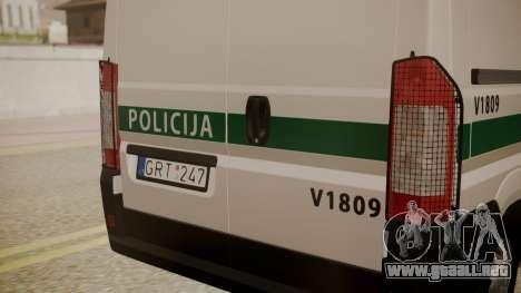 Fiat Ducato Lithuanian Police para la visión correcta GTA San Andreas