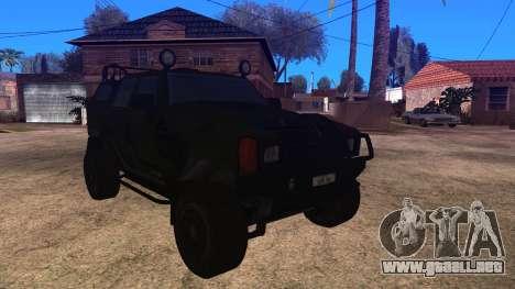 Komatsu LAV 4x4 Unarmed para GTA San Andreas vista posterior izquierda