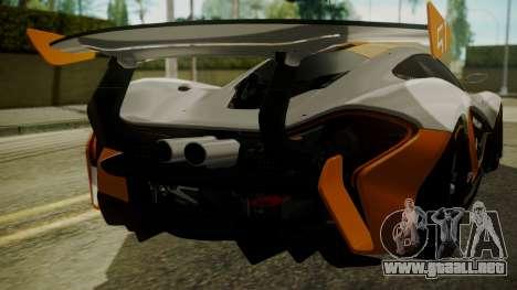 McLaren P1 GTR 2015 para visión interna GTA San Andreas