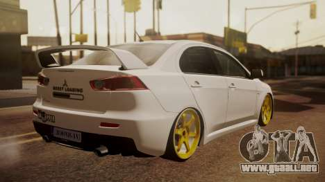 Mitsubishi Lancer Evolution X para GTA San Andreas left