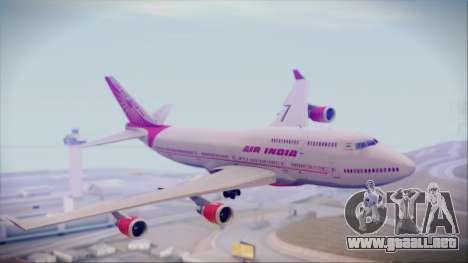 Boeing 747-437 Air India Tanjore Old Skin para GTA San Andreas vista posterior izquierda
