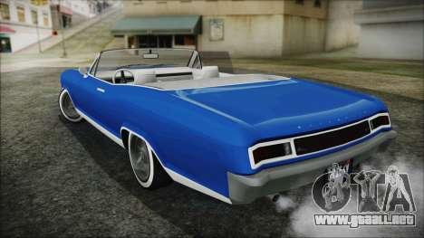 GTA 5 Albany Buccaneer Hydra Version para GTA San Andreas vista posterior izquierda
