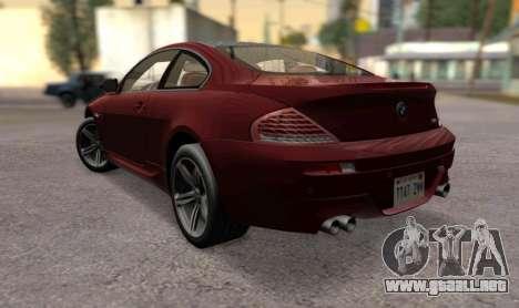 BMW M6 E63 para GTA San Andreas left