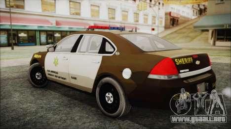 Chevrolet Impala SASD Sheriff Department para GTA San Andreas left