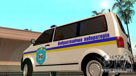 Volkswagen Transporter Buscaminas Ucrania para GTA San Andreas vista posterior izquierda