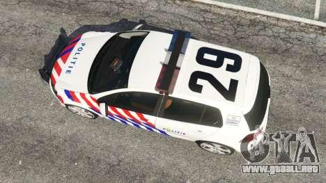 GTA 5 Volkswagen Golf Mk6 Dutch Police vista trasera
