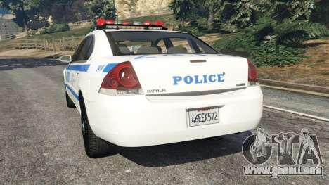 GTA 5 Chevrolet Impala NYPD vista lateral izquierda trasera